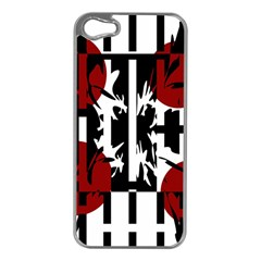 Red, black and white elegant design Apple iPhone 5 Case (Silver)