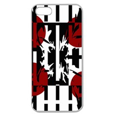 Red, black and white elegant design Apple Seamless iPhone 5 Case (Clear)