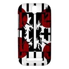 Red, black and white elegant design HTC One SV Hardshell Case