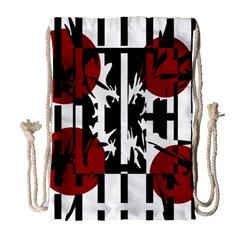 Red, black and white elegant design Drawstring Bag (Large)