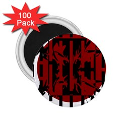Red, black and white decorative design 2.25  Magnets (100 pack)