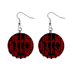 Red, black and white decorative design Mini Button Earrings