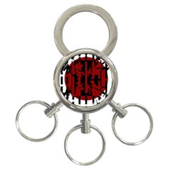 Red, black and white decorative design 3-Ring Key Chains