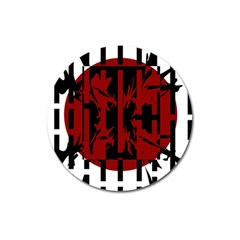 Red, black and white decorative design Magnet 3  (Round)