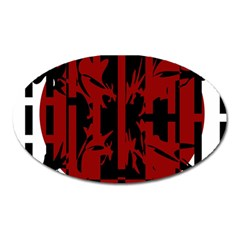 Red, black and white decorative design Oval Magnet