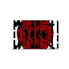 Red, black and white decorative design Magnet (Name Card)