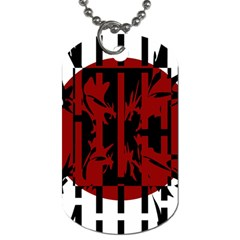Red, black and white decorative design Dog Tag (Two Sides)