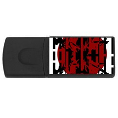 Red, black and white decorative design USB Flash Drive Rectangular (2 GB)