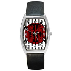 Red, black and white decorative design Barrel Style Metal Watch