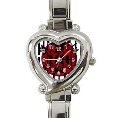 Red, black and white decorative design Heart Italian Charm Watch