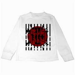 Red, black and white decorative design Kids Long Sleeve T-Shirts
