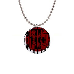 Red, black and white decorative design Button Necklaces