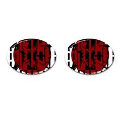 Red, black and white decorative design Cufflinks (Oval)