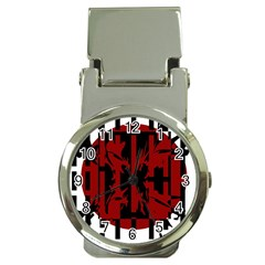Red, black and white decorative design Money Clip Watches