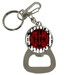 Red, black and white decorative design Bottle Opener Key Chains