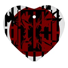 Red, black and white decorative design Heart Ornament (2 Sides)