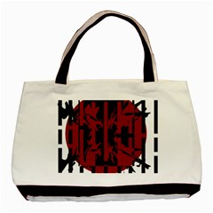 Red, black and white decorative design Basic Tote Bag (Two Sides)