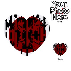 Red, black and white decorative design Multi-purpose Cards (Heart)
