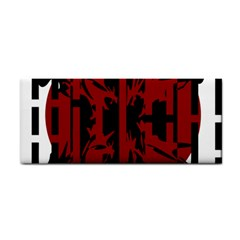 Red, black and white decorative design Hand Towel