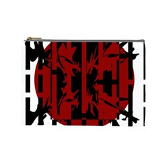 Red, black and white decorative design Cosmetic Bag (Large)