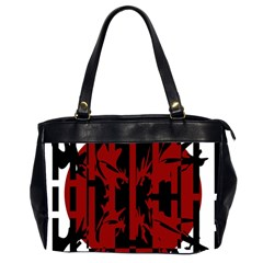 Red, black and white decorative design Office Handbags (2 Sides)