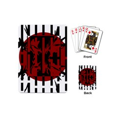 Red, black and white decorative design Playing Cards (Mini)