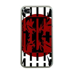 Red, black and white decorative design Apple iPhone 4 Case (Clear)