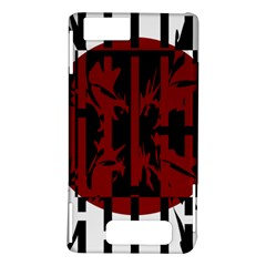 Red, black and white decorative design Motorola DROID X2