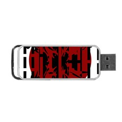 Red, black and white decorative design Portable USB Flash (One Side)