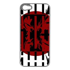 Red, black and white decorative design Apple iPhone 5 Case (Silver)