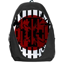 Red, black and white decorative design Backpack Bag