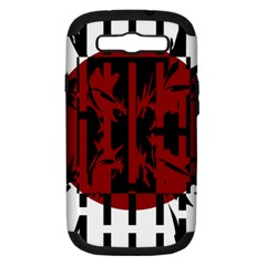 Red, black and white decorative design Samsung Galaxy S III Hardshell Case (PC+Silicone)