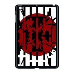 Red, black and white decorative design Apple iPad Mini Case (Black)