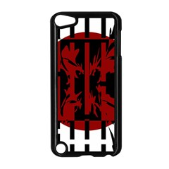 Red, black and white decorative design Apple iPod Touch 5 Case (Black)