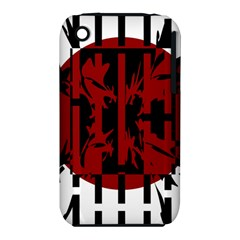 Red, black and white decorative design Apple iPhone 3G/3GS Hardshell Case (PC+Silicone)
