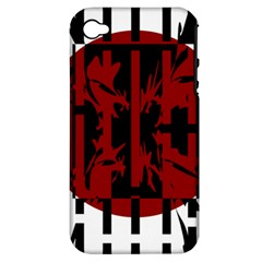 Red, black and white decorative design Apple iPhone 4/4S Hardshell Case (PC+Silicone)