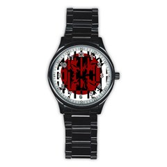 Red, black and white decorative design Stainless Steel Round Watch