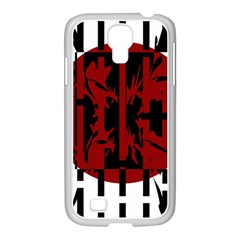Red, black and white decorative design Samsung GALAXY S4 I9500/ I9505 Case (White)