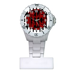 Red, black and white decorative design Plastic Nurses Watch