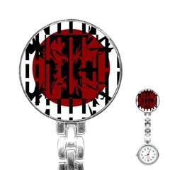 Red, black and white decorative design Stainless Steel Nurses Watch
