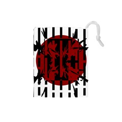 Red, black and white decorative design Drawstring Pouches (Small)
