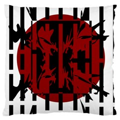 Red, black and white decorative design Large Flano Cushion Case (Two Sides)