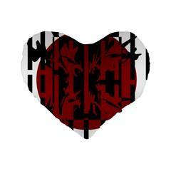 Red, black and white decorative design Standard 16  Premium Flano Heart Shape Cushions