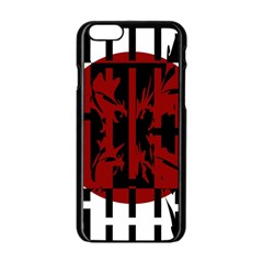 Red, black and white decorative design Apple iPhone 6/6S Black Enamel Case