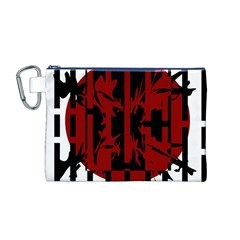 Red, black and white decorative design Canvas Cosmetic Bag (M)