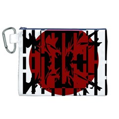 Red, black and white decorative design Canvas Cosmetic Bag (XL)