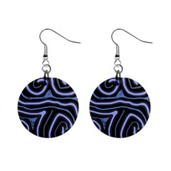 Blue abstract design Mini Button Earrings