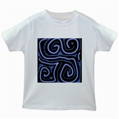 Blue abstract design Kids White T-Shirts