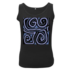 Blue abstract design Women s Black Tank Top