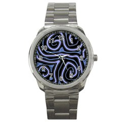 Blue abstract design Sport Metal Watch